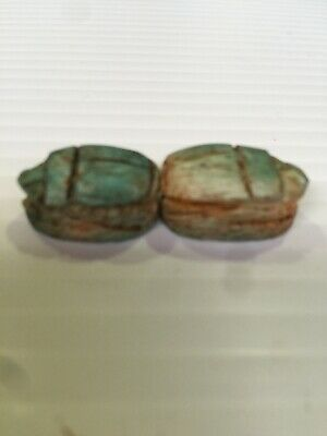 Vintage Egyptian Glazed Hand Carved Wooden Scarab Beads 2 PCs