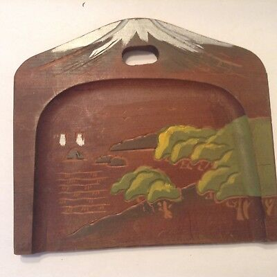 Vintage Wood Hand Carved & Painted Dust Crumb Tray Sweeper Silent Butler, Japan