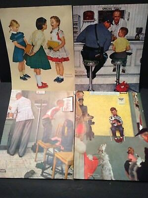 Vintage Saturday Evening Post NORMAN ROCKWELL 4 Lithograph's