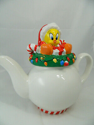 1998 Warner Bros Studio Ceramic Tweety Teapot Christmas Decor Looney Tunes Nice!
