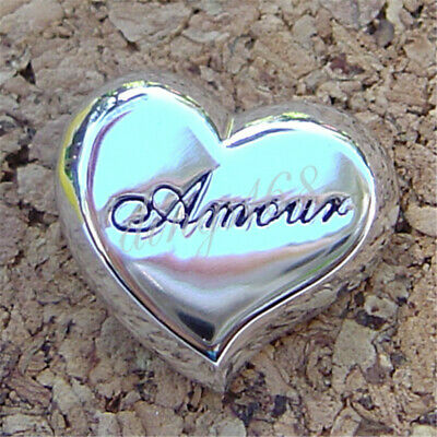 """Genuine 925 Sterling Silver """"Amour"""" Engrave Heart Love Pendant 20mm * 15mm M596"""