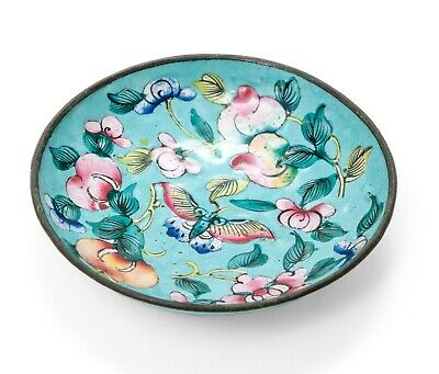 Antique Chinese Canton Hand Painted Enamel Turquoise Pin Dish with Butterfly
