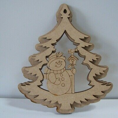 Snowman 3D Christmas Bauble Tree Decoration MDF Craft Blank Varied QTY