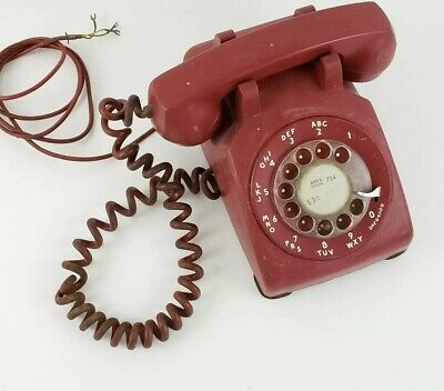 Vintage Western Electric Red Rotary Dial Desk Phone Telephone 500DM 50s