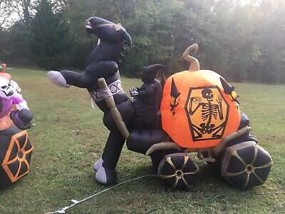 Gemmy Halloween Reaper With Horse And pumpkin Carriage Outdoor Inflatable