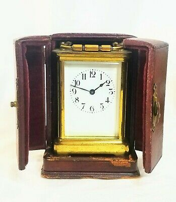 French Duverdrey & Bloquel 8 Day Brass Carriage Clock w Leather Case Working