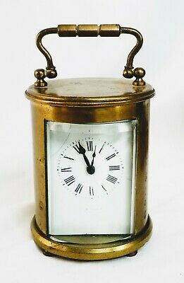 Antique French Brass Cylinder Carriage Clock Working Beveled Glass