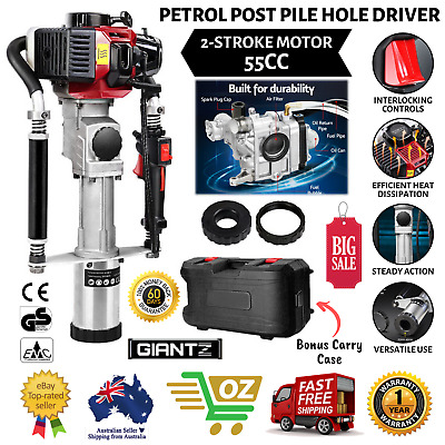 GIANTZ 55CC Petrol Post Pile Hole Driver 2-Stroke Low Fatigue Hassle Free Rammer