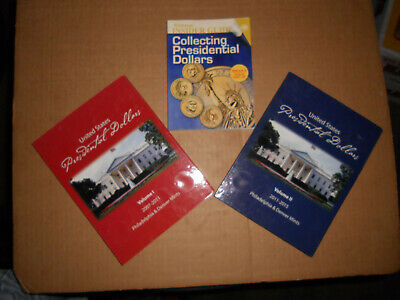 Presidential Dollar Coin Folders Vol 1&2 P&D 2007-2015 With Collector Guide Book