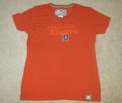 Nike Boys/Girls MLB Detroit Tigers Baseball Shirt-Orange/Blue/White-Large 12/14