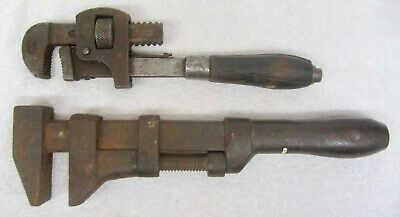 "2 Vintage PIPE WRENCH Wood Handle STILLSON #10 & Steel Handle COES? 12"" Monkey"