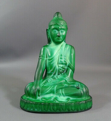 Art Deco Bohemian Czech Schlevogt Ingrid Malachite Glass Statue Buddha Figure