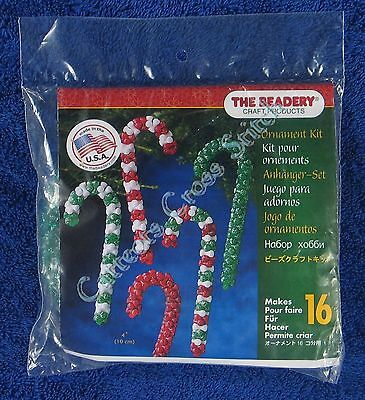 "Christmas Bead Kit Candy Canes Ornament Makes 16 4"" 10 cm Quick & Easy"