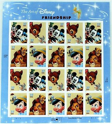 USPS Disney Postage Stamps The Art Of Disney Friendship Sheet Of 20 - 37 Cent