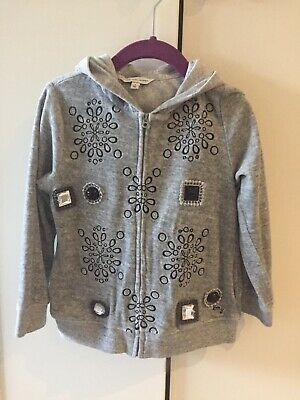 Girls' Designer Little Marc Jacobs Grey Velour Hoodie with Jewel Details Size 4