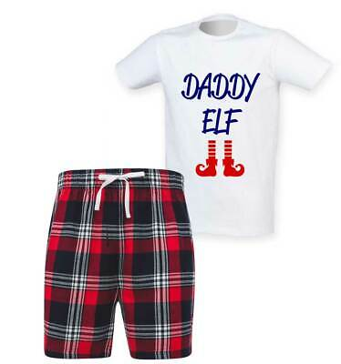Mens Daddy Elf Christmas Tartan Short Pyjama Set Family Matching Twinning