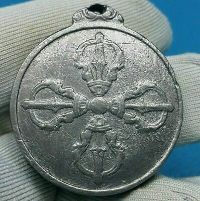 Meteorite Muonionalusta Pendant Tibetan 9-Gung & Vajra 2 Different Sided Symbol