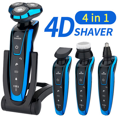 4 IN 1 Men Waterproof Electric Razor Shaver Wet Dry Cordless Rechargeable Rotary