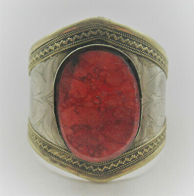 Beautiful Late Medieval Islamic Ottomans Silvered Bracelet With Red Stone Inset