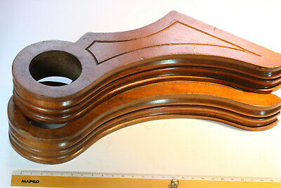 Pair Antique French Carved Hardwood Curtain Pole Brackets (50mm diameter pole)
