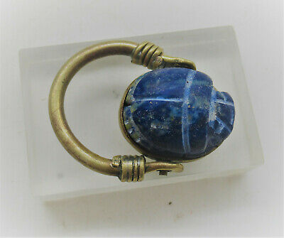 Superb Ancient Egyptian Lapis Lazuli Scarab Set In A Gold Gilt Brass Ring