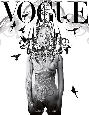 Vintage print art  Poster black white vogue cover turkish painting not canvas