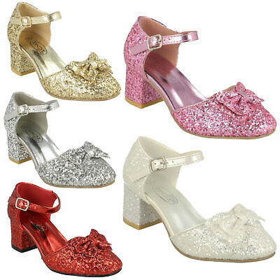 Spot On Girls Glitter Block Heel Buckle Strap Bow Trim Party Shoes Sandal H3R081