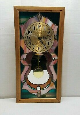 Vintage Stained Glass Prism Pendulum Hanging Wall Mantle Clock Folk Art 23 x 11
