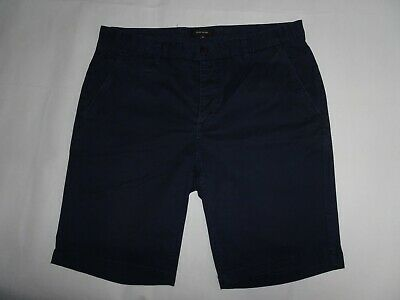 RIVER ISLAND Mens Chino Shorts Blue Stretch Cotton Chinos SIZE W34 Waist 34""