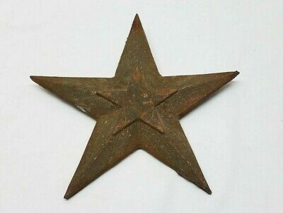 "Vintage Antique 8.5"" Cast Iron Star Architectural Building Wall Anchor Primitive"
