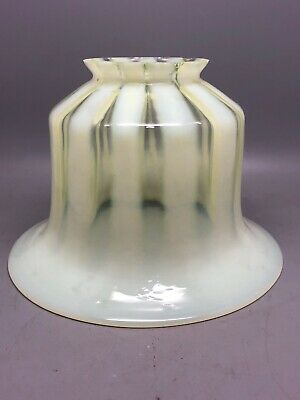 Antique Uranium Vaseline Straw Opal Glass Lamp Shade from Victorian chandelier