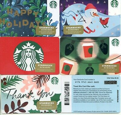 Complete Set 5 Newest 2019 Starbucks Corporate Holiday #6176  Not In Stores