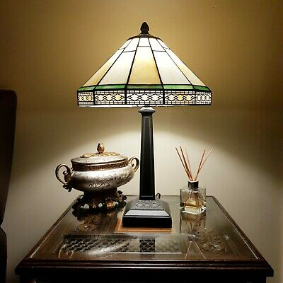 Amazing Tiffany Style Unique Stained Glass Desk Table Lamp Antique Looking