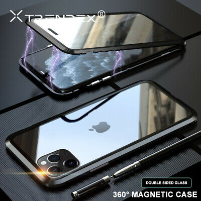 For iPhone 11 Pro XS MAX XR 360° Hybrid Magnetic Metal Tempered Glass Case Cover