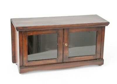 Victorian Antique Stained Pine Two Door Glazed Small Table/Hanging Cabinet