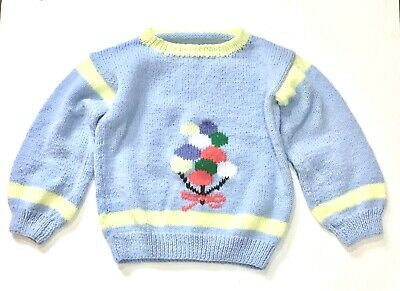 Hand Knit Vintage Youth Sweater Bunch Of Balloons