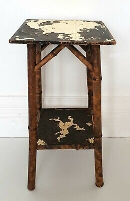 Victorian bamboo two-tier lamp table, Edwardian, gold leaf, antique, vintage.