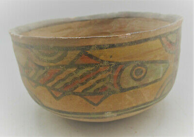 Superb Ancient Indus Valley Harappan Pottery Bowl With Fish Motifs 2000Bce