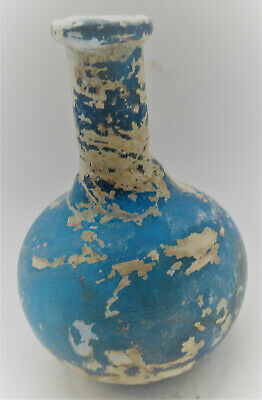 Scarce Circa 200-300Ad Ancient Roman Aque Blue Glass Vessel Beautiful