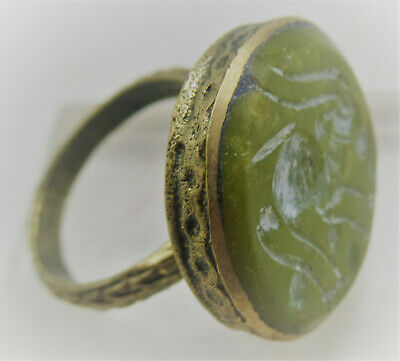 Superb Late Medieval Islamic Gold Gilt Bronze Ring With Agate Gazelle Intaglio