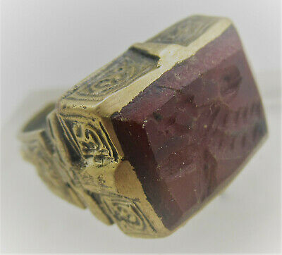 Superb Late Medieval Islamic Gold Gilt Bronze Ring With Carnelian Intaglio