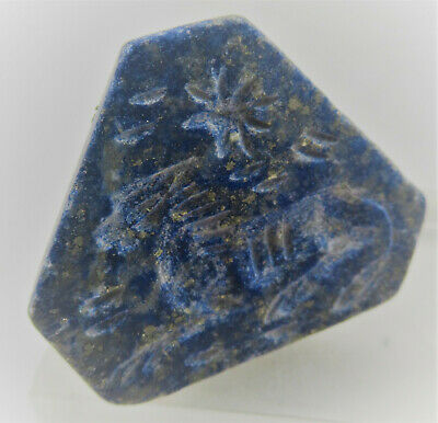 Beautiful Ancient Near Eastern Lapis Lazuli Carved Seal Stamp Pyramidal Shape