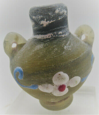 Circa 300Bce Ancient Phoenician Green Glass Bottle With Floral Motifs