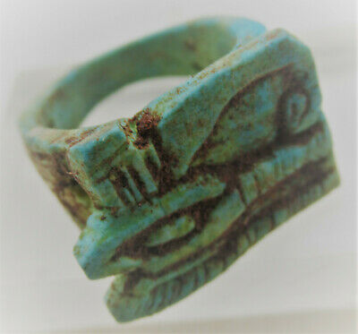 Beautiful Ancient Egyptian Glazed Faience Eye Of Horus Finger Ring
