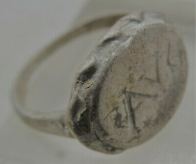 Scarce Roman Ar Silver Seal Ring Inscribed Avg Wearable