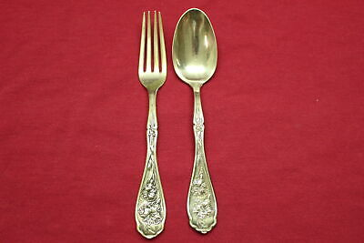 "Antique William Rogers Carnation Silverplate 6"" Teaspoon & 6"" Youth Fork"