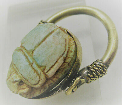 Ancient Egyptian Glazed Faience Scarab Set In A Modern Gilt Bronze Swivel Ring