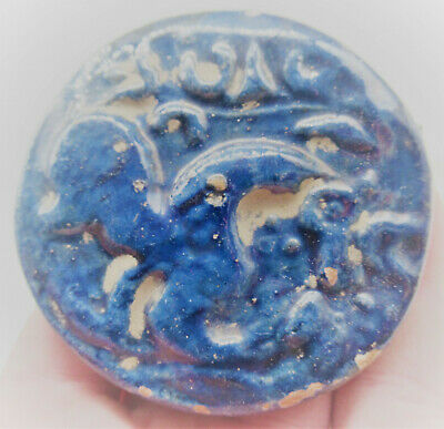 Circa 1300-1400Ad Ancient Islamic Glazed Terracotta Seal Stamp Seljuk