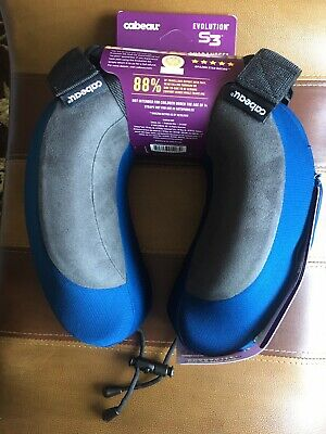 Travel Memory Foam Neck Pillow Evolution S3 + Vents + Bag + Socks Cabeau New!!