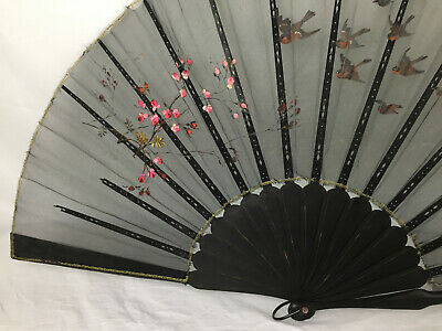 XL Antique Embroidered Asian Chinese Hand Fan Sheer Birds Cherry Blossom Japan
